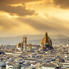 Cathedral Santa Maria del Fiore and belfry in Florence, Tuscany