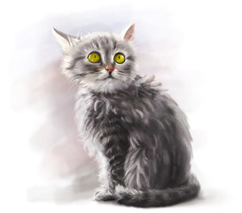 Adorable fluffy kitten, pet, cat animal paint