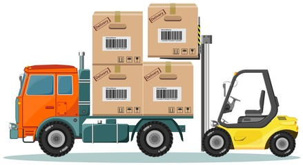 Loader Sinker Boxes in the Truck, Vector Illustration