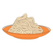 Pasta on the plate. Hand drawn spaghetti - 74067179