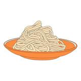 Pasta on the plate. Hand drawn spaghetti