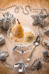 ice cream and pear over christmas table