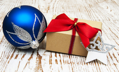 christmas baubles  with  gift box