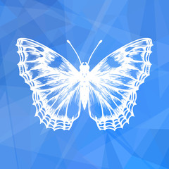Abstract geometric blue background with butterfly