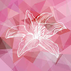 Abstract pink geometric background with flower