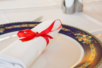 Elegant napkin in a plate