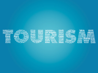 TOURISM travel concept made with words cities names, vector