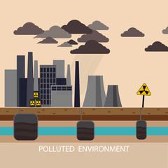 Power plant smokestacks emitting smoke