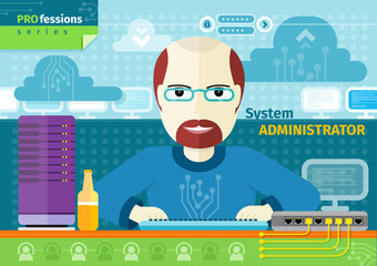 System administrator with computer in data centre
