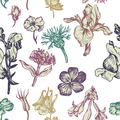 vintage vector seamless floral pattern