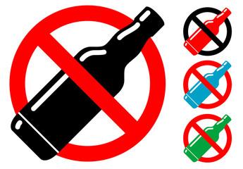 Pictograma alcohol no con varios colores
