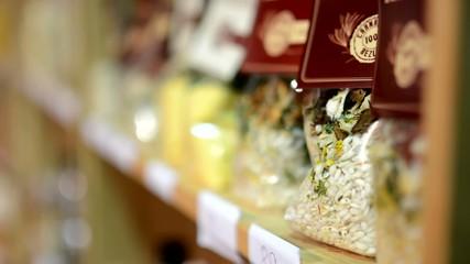 rice in bags in shelf - shops