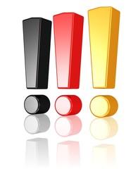 drei Ausrufezeichen in Schwarz-Rot-Gold