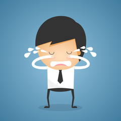 Businessman stand crying