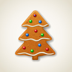 Christmas gingerbread fir-tree, decorated colored icing