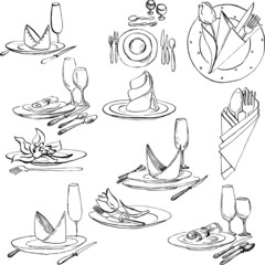 hand drawn set of tableware