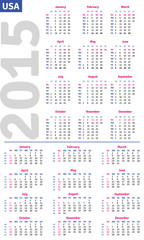 English calendar 2015, vertical and horizontal calendar grid