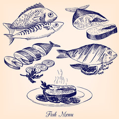 set of hand drawn fish dishes