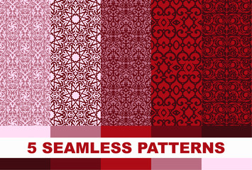 set of red and pink geometric patterns