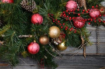 vintage christmas decoration over old wooden background