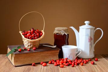 Fresh rosehip jam and tea