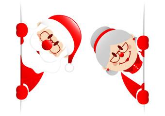 Santa & Wife Diagonal Banner