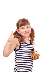 happy little girl with salad and thumb up