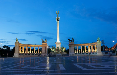 Heroes' Square in Budapest at night, Hungary