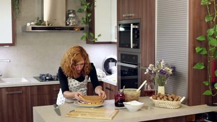 Woman making homemade cake