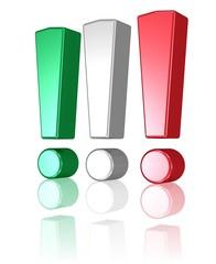 drei Ausrufezeichen in den Farben der italienischen Flagge