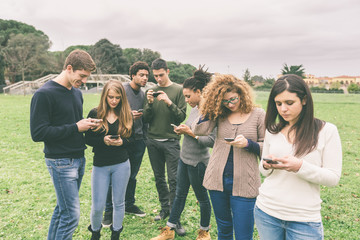 Multiethnic Group of Friends, Smart Phone Addicted