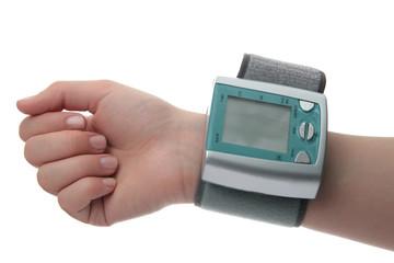 Electronic pressure gauge for measuring blood pressure on hand