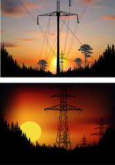 two landscapes with electric towers in forest at sunset
