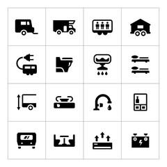 Set icons of camper, caravan, trailer