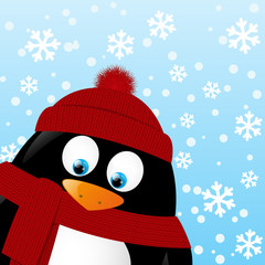 Cute cartoon penguin on winter background