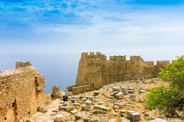 fortification walls of Lindos Acropolis