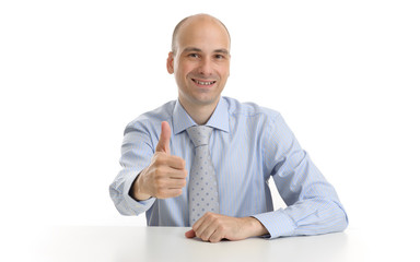 businessman showing his thumb up