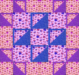 Quilt arrangement with cotton scraps with flowers