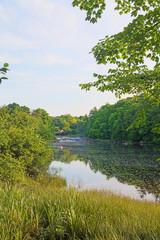 Tranquil Frankfort Maine River Scene