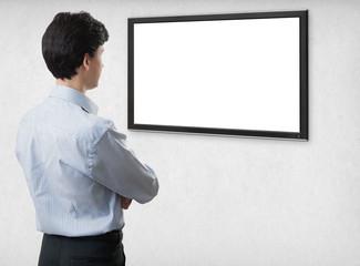 businessman looking at blank computer screen