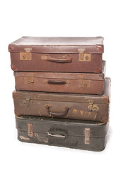 Stack of vintage suit cases