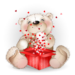 Нappy bear got in a gift box with lots of hearts 2