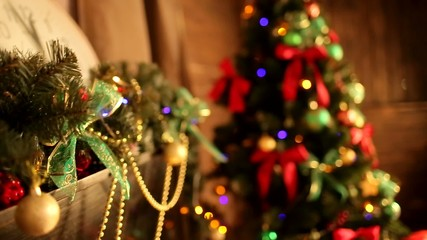room decorated in Christmas garland, balls
