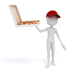 3d man, pizza delivery