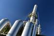 Leinwanddruck Bild - Rohrleitungen einer Raffinerie // pipeline industrial area