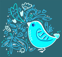 Bright blue bird vector. Doodle vector. Card.