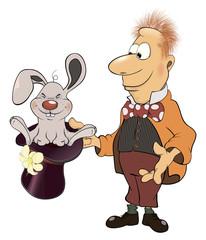 Illustration of a magician and a rabbit cartoon