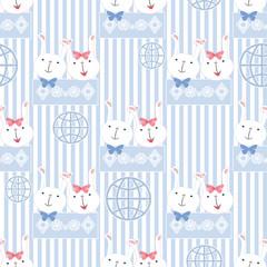 Seamless cartoon rabbit pattern striped background