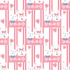 Seamless cartoon rabbit pattern texture striped background