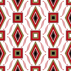 Seamless abstract pattern rhombuses and square texture geometric